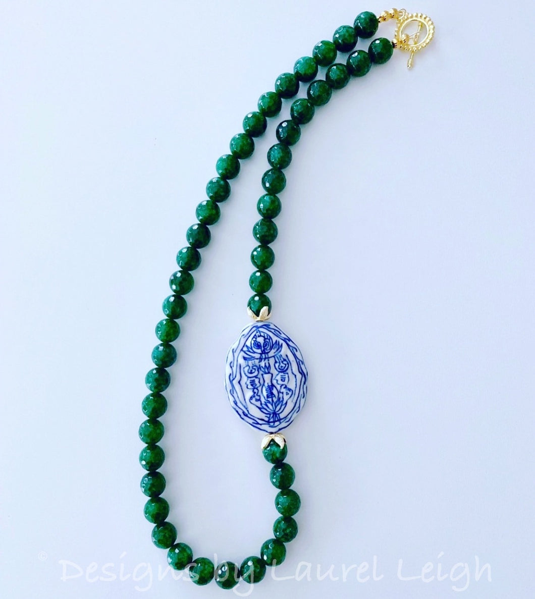 Green Jade Chinoiserie Statement Necklace - Ginger jar