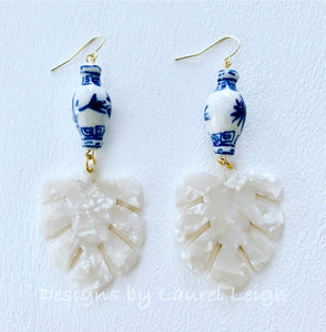 Chinoiserie Tortoise Shell Tropical Palm Leaf Statement Earrings - White Pearl - Designs by Laurel Leigh