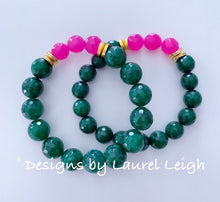 Load image into Gallery viewer, Green & Pink Gemstone Statement Bracelet - Two Options - Ginger jar