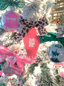 Chinoiserie Chic Acrylic Double Happiness Ginger Jar Christmas Ornament - 5 Solid Colors - Pick Ribbon
