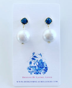 Blue Sapphire Stone and Pearl Earrings