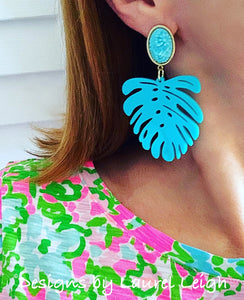 Monstera Tropical Palm Leaf Statement Earrings - Turquoise & Gold Cameo - Designs by Laurel Leigh