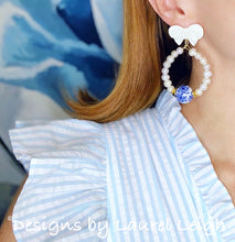 Load image into Gallery viewer, Blue and White Chinoiserie Floral Bow & Pearl Hoop Earrings - 2 Styles