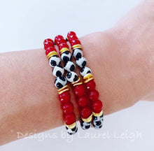 Load image into Gallery viewer, Dainty Red, Black, White & Gold Gemstone Beaded Bracelet - Single or Stack - Ginger jar