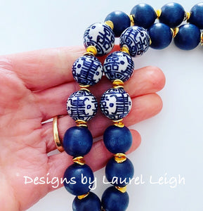 Chinoiserie Double Happiness Pendant Statement Necklace - Navy - Ginger jar