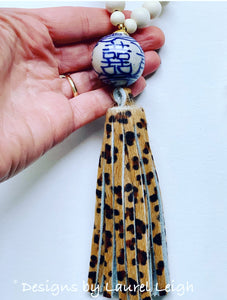 Blue and White Chinoiserie Double Happiness Leopard Print Tassel Statement Necklace - Designs by Laurel Leigh
