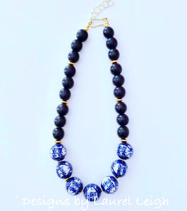 Blue and White Double Happiness Chinoiserie Chunky Statement Necklace - Black - Ginger jar