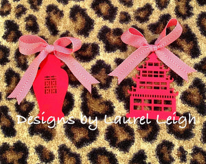 Chinoiserie Chic Double Happiness GINGER JAR Christmas Ornament - 5 Solid Colors - Pick Ribbon - Ginger jar