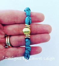 Load image into Gallery viewer, Genuine Natural Turquoise Nugget and Gold Beaded Bracelet - Designs by Laurel Leigh