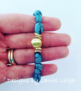 Turquoise Nugget and Gold Beaded Bracelet - Ginger jar