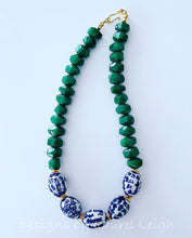 Load image into Gallery viewer, Chunky Green Jade Chinoiserie Statement Necklace - Ginger jar