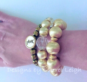 Gold and Crystal Chunky Beaded Statement Bracelet - Ginger jar