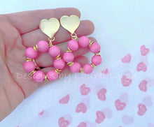 Load image into Gallery viewer, Pink and Gold Heart Post Hoops - Ginger jar