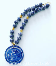 Load image into Gallery viewer, Chinoiserie Beaded Statement Necklace with Blue Willow Pendant - Ginger jar
