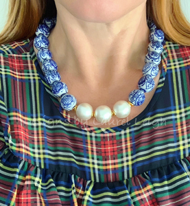 Blue and White Chinoiserie Jumbo Pearl Chunky Statement Necklace - Designs by Laurel Leigh