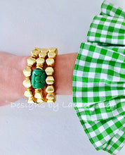 Load image into Gallery viewer, Gold and Green Chinoiserie Square Beaded Statement Bracelet - Ginger jar