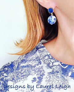 Blue and White Chinoiserie Orchid & Sapphire Earrings