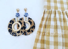 Load image into Gallery viewer, Chinoiserie Leopard Print Statement Earrings - Faux Leather - Ginger jar