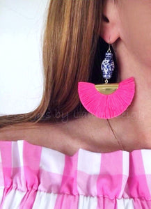 Chinoiserie Ginger Jar Fan Tassel Earrings - Hot Pink - Ginger jar