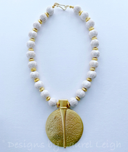 Load image into Gallery viewer, Gold and Ivory Chinoiserie Pendant Statement Necklace - Ginger jar