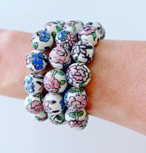 Load image into Gallery viewer, Chinoiserie Pink Peony Flower Beaded Statement Bracelet - Ginger jar