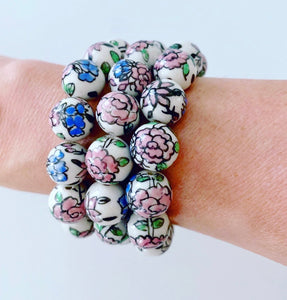 Chinoiserie Chunky Pink Peony Flower Beaded Statement Bracelet - Ginger jar