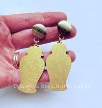 Load image into Gallery viewer, Chinoiserie Chic Ginger Jar Statement Earrings - Six Color Options - Ginger jar