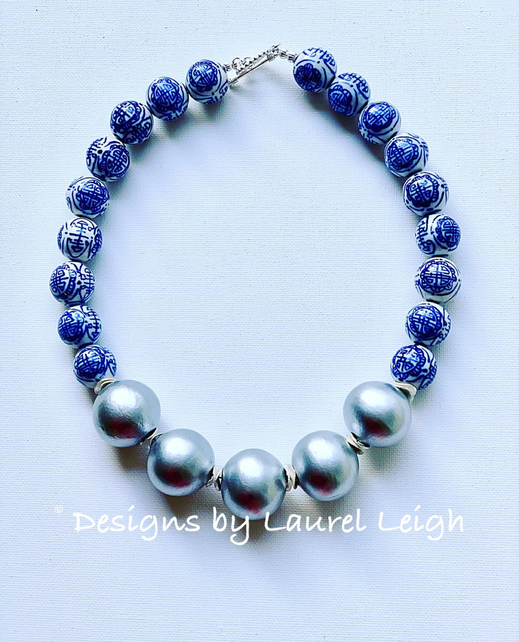 Blue and White Chinoiserie with Jumbo Pearl Chunky Statement Necklace - Silver - Ginger jar