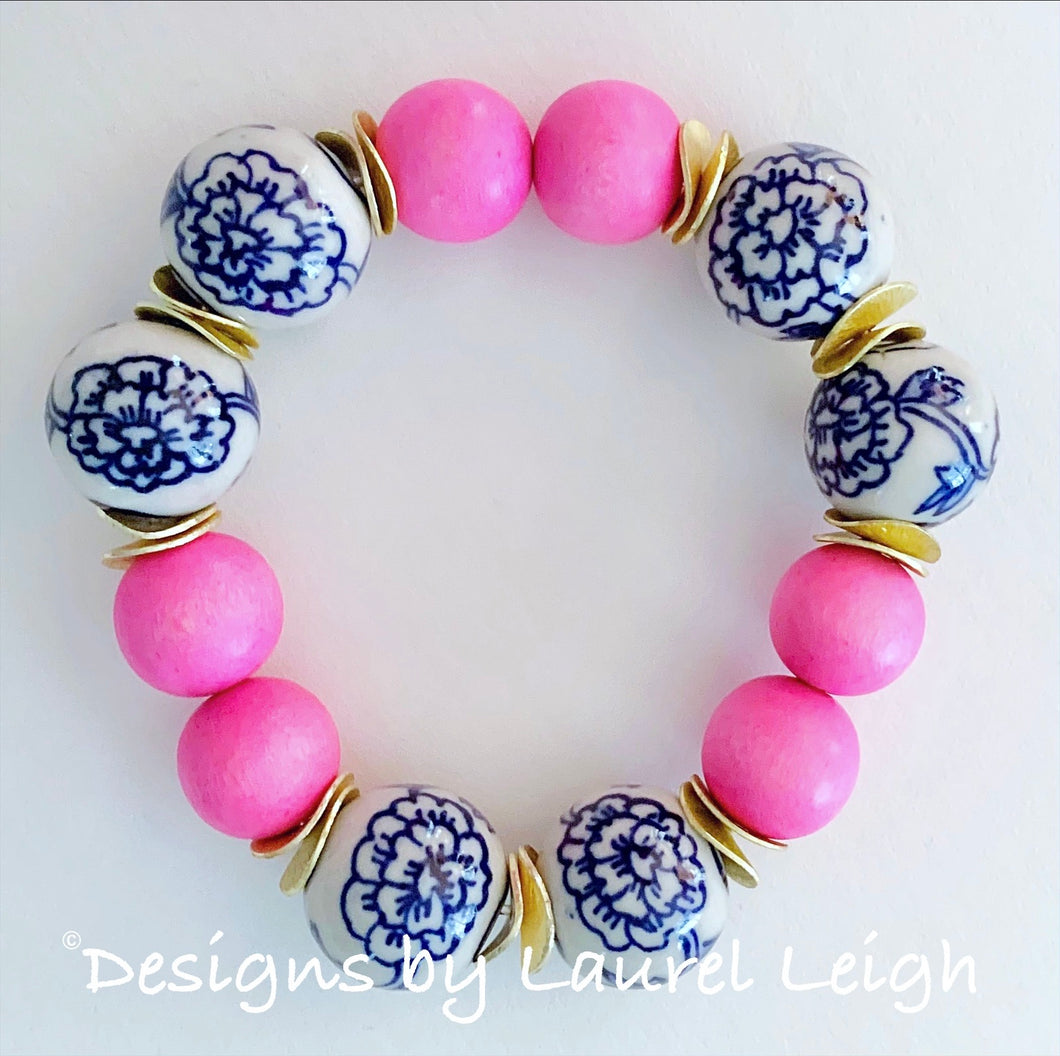 Chunky Blue and White Chinoiserie Peony Statement Bracelet- Bright Bubblegum Pink