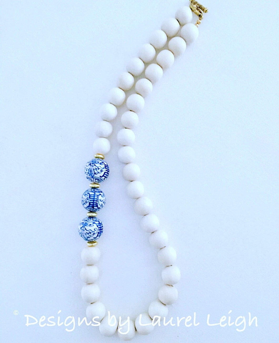 Blue and White Chinoiserie Statement Necklace - Ginger jar