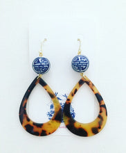 Load image into Gallery viewer, Chinoiserie Tortoise Shell Earrings - Oval Hoops - Designs by Laurel Leigh