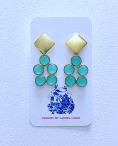 Gold and Aqua Chalcedony Gemstone Dainty Statement Earrings - Ginger jar