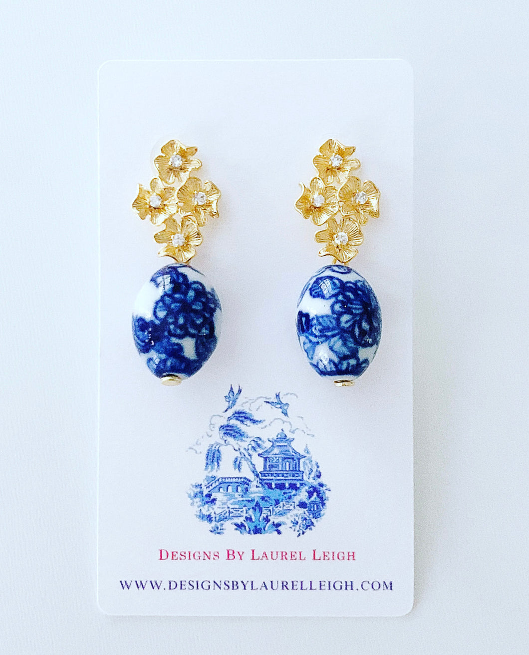 Blue and White Chinoiserie Floral Cluster Earrings