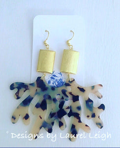 Gold & Blonde Tortoise Shell Coral Statement Earrings - Designs by Laurel Leigh