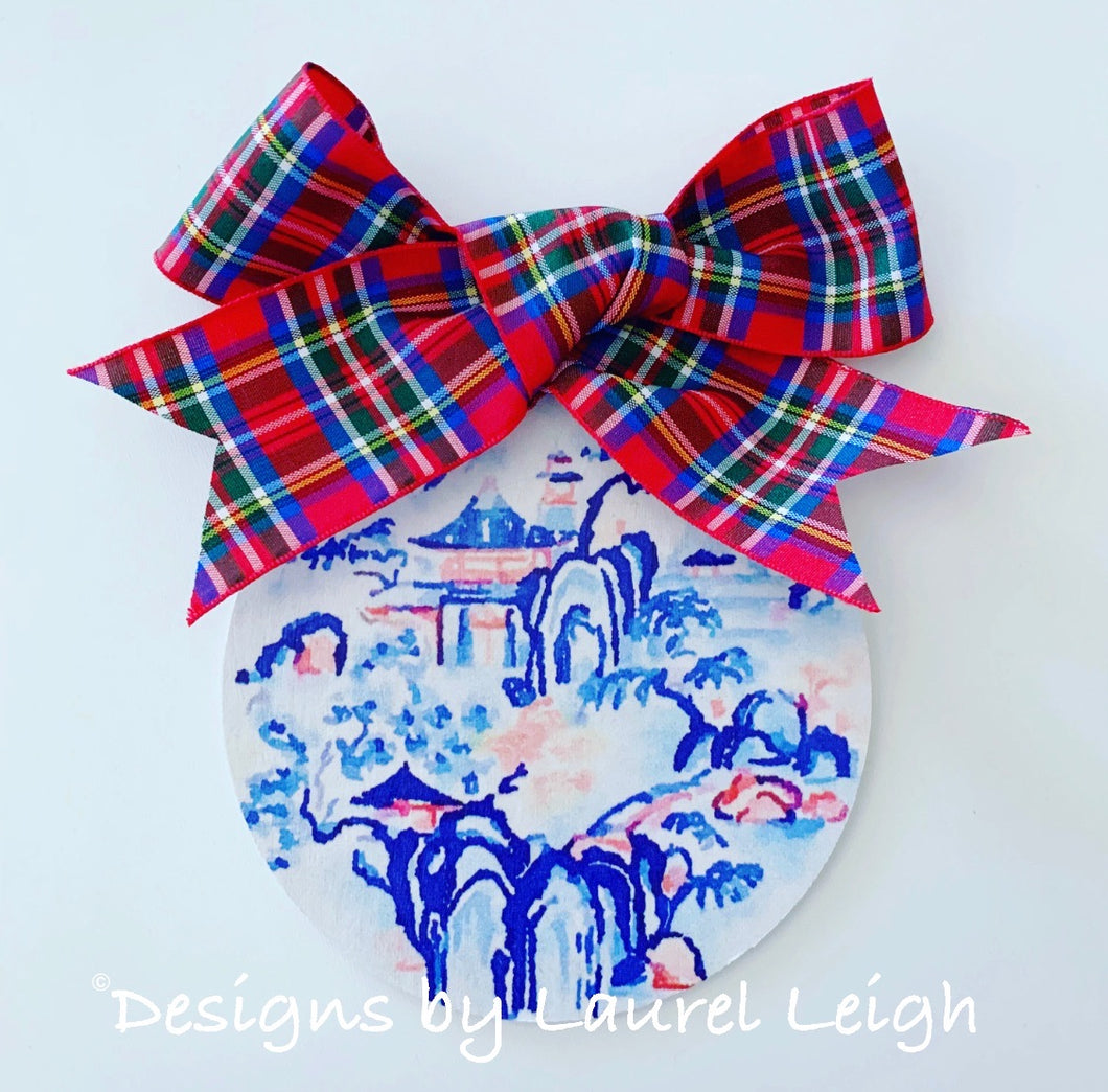 "Red, White and Blue Chinoiserie Christmas Ornament- 4"" Imari Kinrande Watercolor Art Pattern"