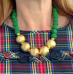 Green and Gold Chunky Chinoiserie Statement Necklace - Ginger jar