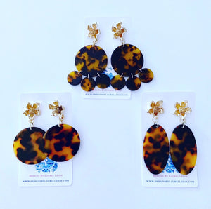 Tortoise Shell & Dogwood Blossom Statement Earrings - 3 Styles - Ginger jar