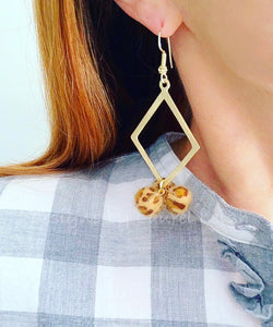 Gold Faux Leather Leopard Drop Statement Earrings - Ginger jar