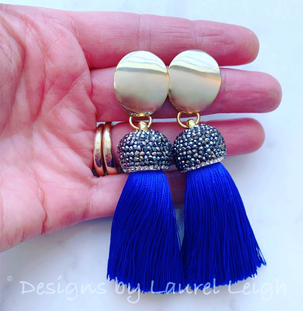 Royal Blue and Gold Tassel Statement Earrings - Ginger jar