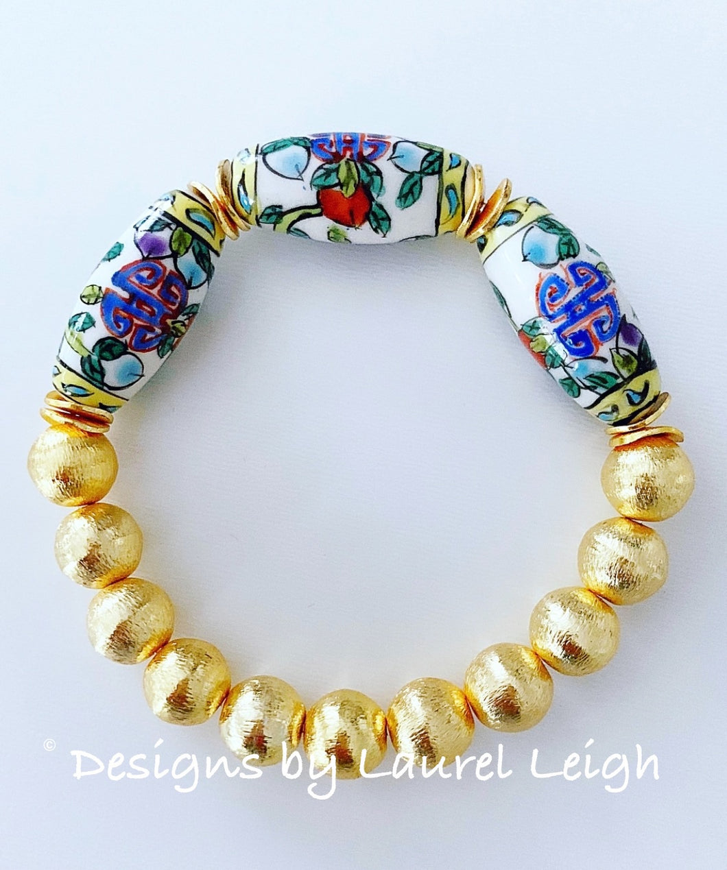Chinoiserie Vintage Bead Statement Bracelet - Ginger jar