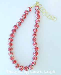 Chinoiserie Red and White Peony Statement Necklace