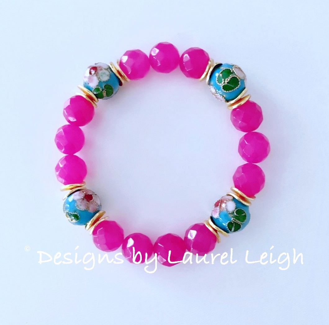 Hot Pink & Turquoise Statement Bracelet - Ginger jar