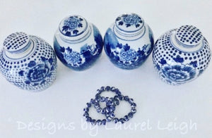 Blue and White Chinoiserie Chunky Peony Flower Beaded Statement Bracelet - Ginger jar