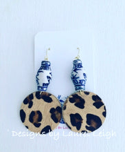 Load image into Gallery viewer, Chinoiserie Leather Leopard Print Statement Earrings - 2 Styles - Ginger jar