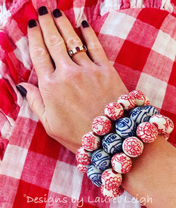 Chinoiserie Red Peony Flower Beaded Statement Bracelet