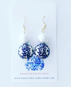 Chinoiserie Double Happiness Cotton Pearl Drop Earrings - Ginger jar