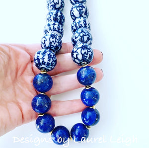 Chunky Blue & White Lapis Chinoiserie Statement Necklace - Round Porcelain - Ginger jar