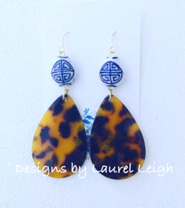 Chinoiserie Tortoise Shell Earrings- Oval Teardrops - Ginger jar