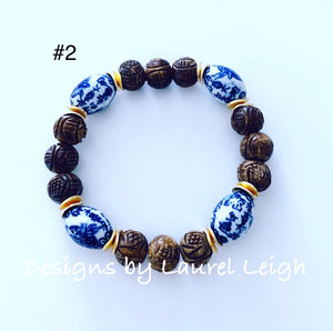 Chinoiserie Brown Carved Beaded Statement Bracelet