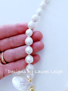 Baroque Pearl Statement Necklace - Adjustable - Ginger jar